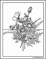Coloring Pages Flower Bouquet Flowers Wildflower Printable Daisy Pdf Butterfly Adults Wild Wildflowers Vase Zinnia Designs Embroidery Drawn Customize Template sketch template