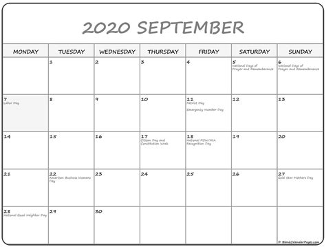 september  monday calendar monday  sunday