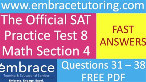 sat math practice test 8 section 4 questions 31 38 fast