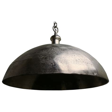 large rustic pendant light with metal bowl shade 3034457
