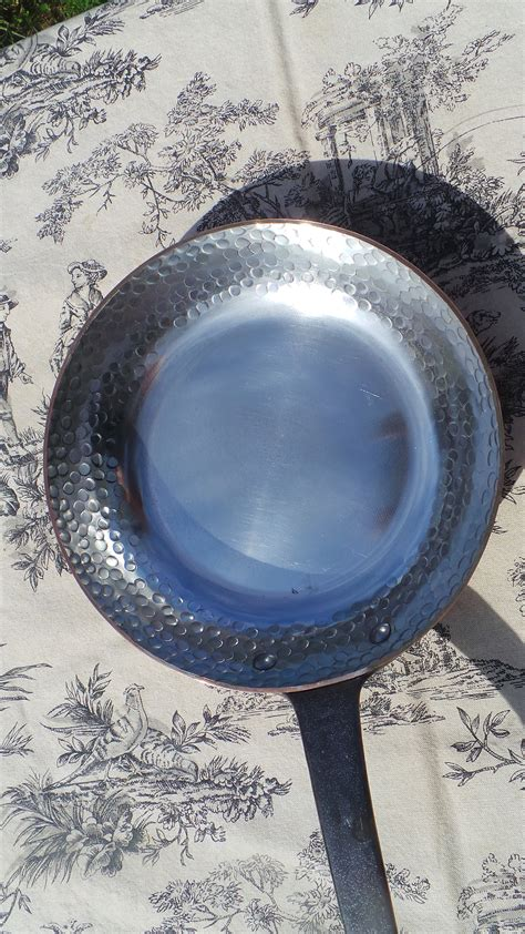 mm copper frying pan saute skillet copper pan   france fry vintage french copper