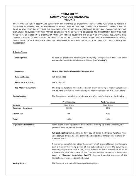 term sheet venture capital competition avenues