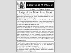 Expressions of Interest for Judge of the Māori Land Court