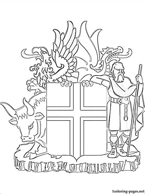 Wapenschild Kleurplaat by Iceland Coat Of Arms Coloring Page Coloring Pages