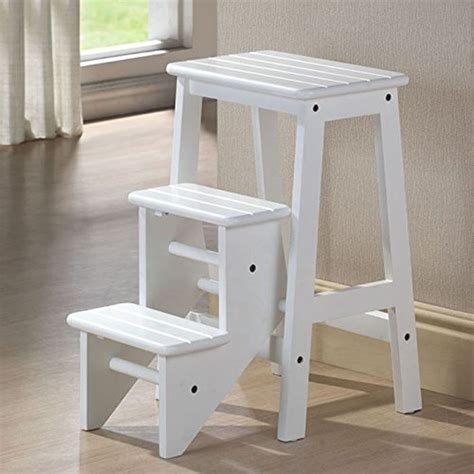 folding step stool 24 quot chair ladder platform white