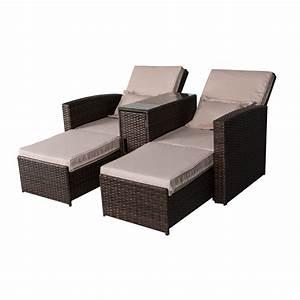 Lounge Set Rattan : outsunny 3 piece outdoor rattan wicker chaise lounge furniture set outdoor chairs ~ Whattoseeinmadrid.com Haus und Dekorationen