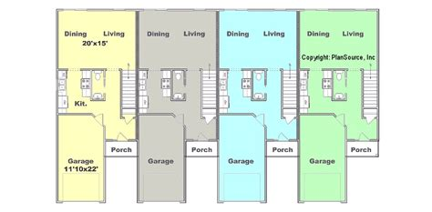 single level floor plans 4 plex plan j0121 12 4 plansource inc
