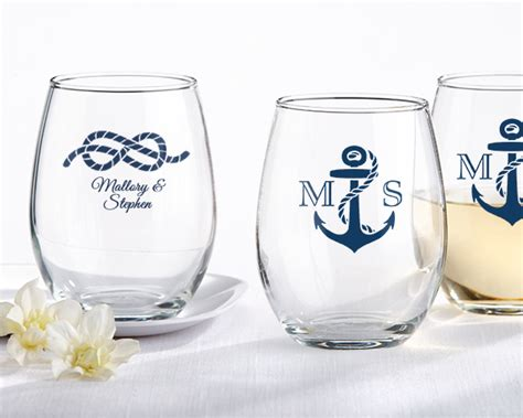 personalized stemless wine glass nautical wedding