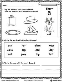 Short I Sound Worksheet  Phonics Worksheets  Pinterest  Short Vowels, Printable Worksheets