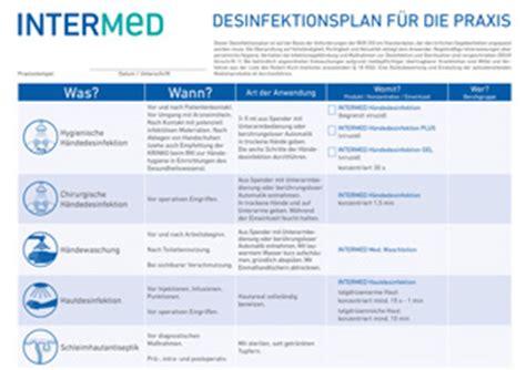 hygienedesinfektion plaene tabellen vorlagen formulare