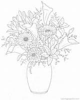 Coloring Bouquets Pages Fun Flower Boeketten Bouquet Kleurplaten Printable Van Kleurplaat Popular Print Drawing Tekening Coloringhome Afkomstig sketch template