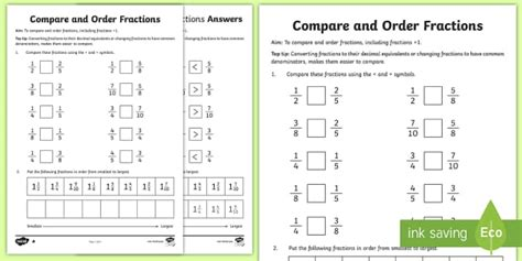 year 6 order fractions worksheet worksheet key stage 2