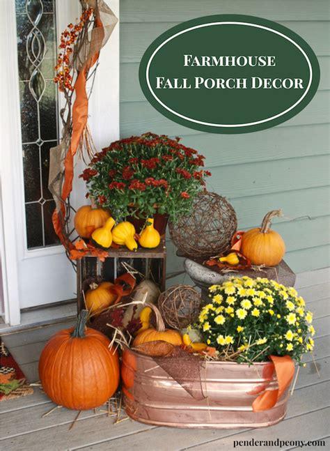 farmhouse fall porch decor pender peony  southern blog