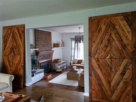 hand  solid reclaimed wood barn doors diamond mosaic