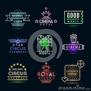 Neon Circus And Cinema Movie Vector Emblems Stock