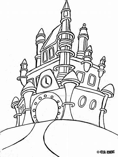 Castle Disney Coloring Pages Walt Drawing Cinderella