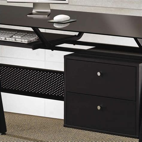 two desks coaster computer desk with two storage drawers in black
