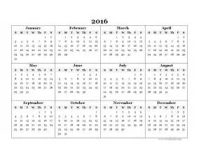 Free Printable 2016 Yearly Calendar Template