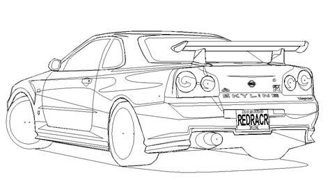 Gtr Kleurplaat by Nissan Skyline Gtr R34 Drawing Sketch Coloring Page