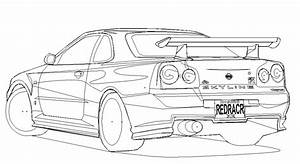 nissan skyline gtr r34 drawing sketch coloring page With nissan gt r skyline r34 electrical system troubleshooting