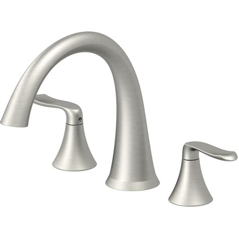 low arc kitchen faucet shop piccolo brushed nickel 2 handle deck mount