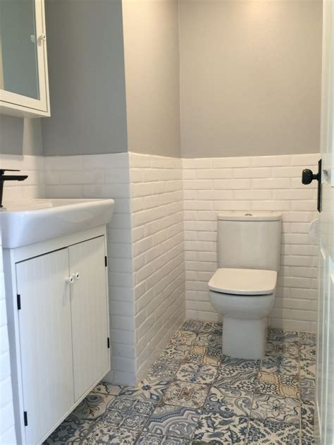 Powder Room Tiles. Vanity & Mirror from Ikea, tiles and