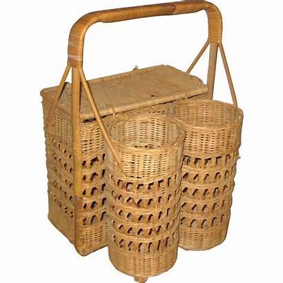 Wine Picnic Basket Wicker Hamper Bottle Suzanstreasures