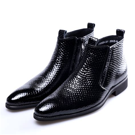 Fashion Serpentine Black Ankle Boots Mens Winter Shoes