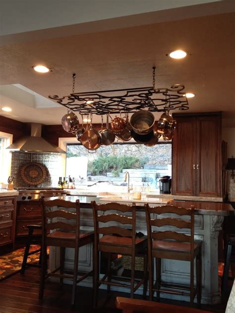 kitchen island with pot rack kitchens kitchen island with pot rack including lighted