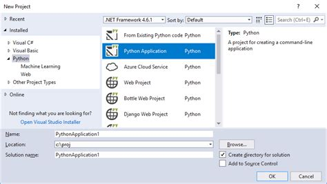 working with python in visual studio step 1 microsoft docs
