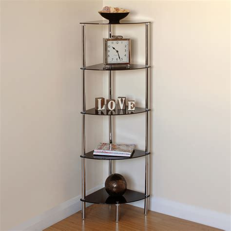 hartleys  tier black glass side corner shelfdisplay unit