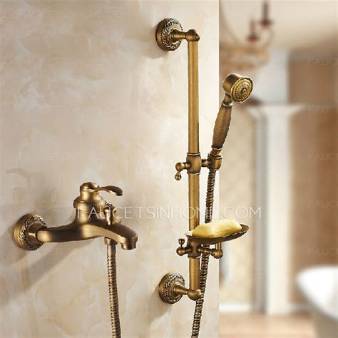 Discount Antique Brass Exposed Tub And Shower Faucets System