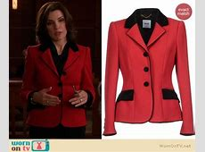 WornOnTV Alicia's red blazer with black trim on The Good