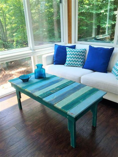 Easy pallet project diy for the beginner! DIY Turquoise Painted Pallet Coffee Table | 101 Pallets