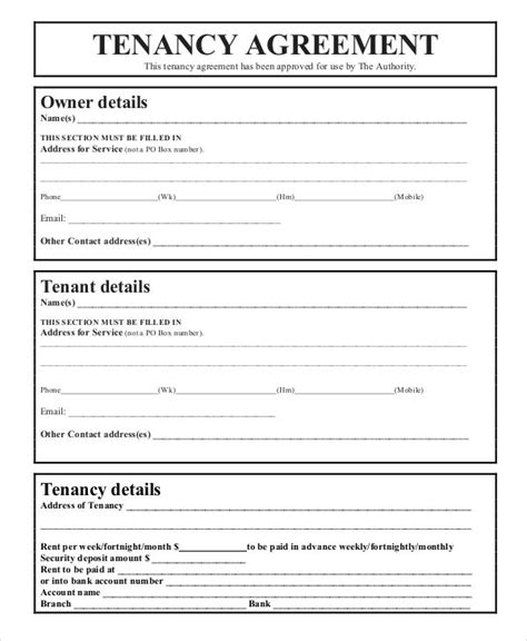 tenancy agreement templates  basic agreement forms