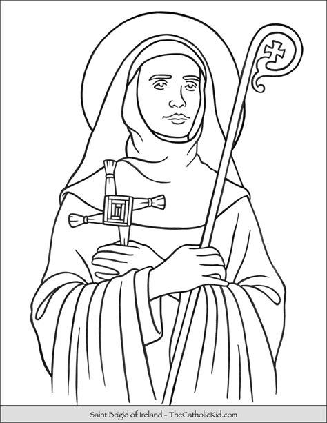saint brigid  ireland coloring page thecatholickidcom