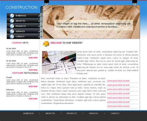 Simple Construction Html Template by Archives Hugemaster