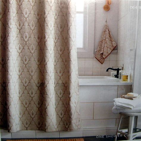 target home ogee fabric shower curtain beige brown