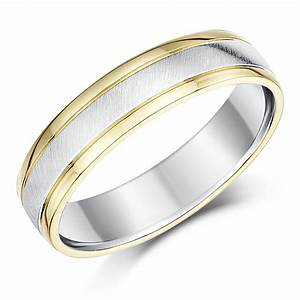 His Hers 9ct Yellow Gold Silver Wedding Rings 56mm