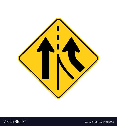 Uk road sign clip art. Usa traffic road signs added lane ahead Royalty Free Vector