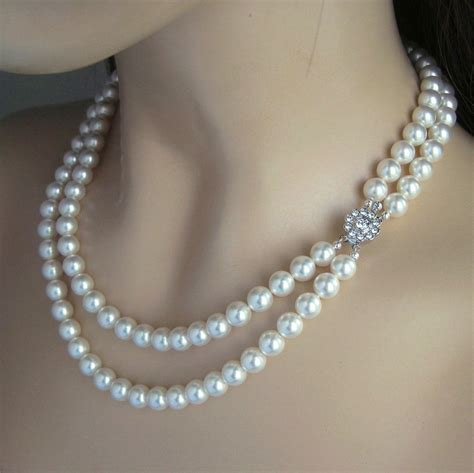 vintage pendant wedding jewelry strand pearl necklace pearl bridal