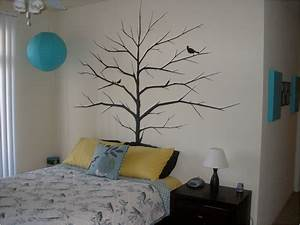 Interior tree wall painting teen girl room decor kids