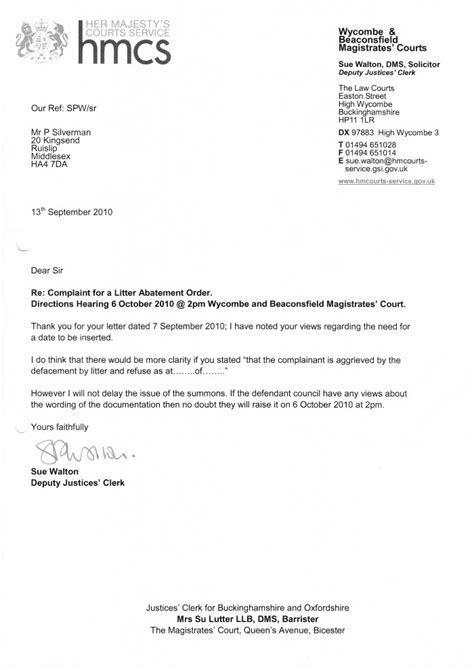 letter  wycombe magistrates court clean highways