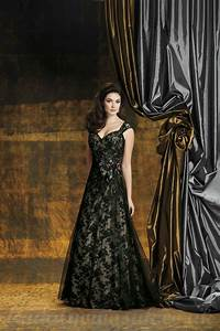 dramatic illusion black lace wedding dress with vintage look With black vintage wedding dresses