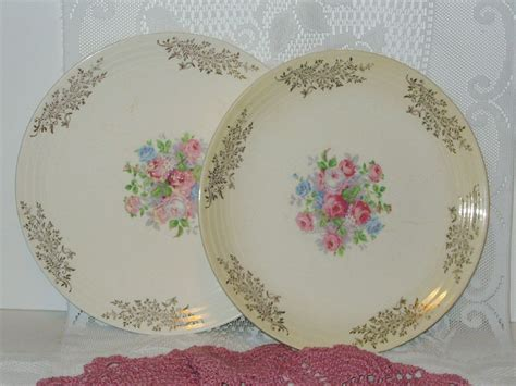 Antique Set Of 2 Cronin China Plates 22 Karat Gold Shabby