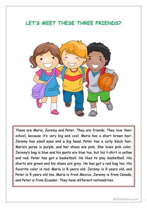 reading comprehension  kids worksheet  esl