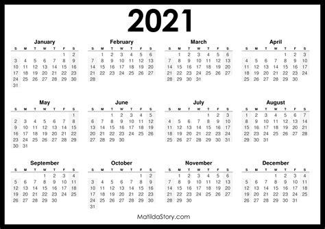 printable  calendar horizontal black sunday