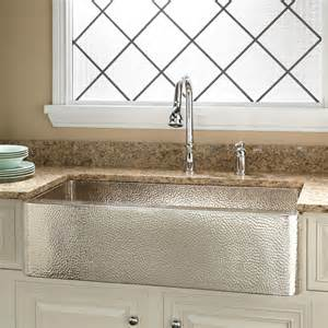 hammered copper farm sink signature hardware 35 quot reena nickel plated hammered copper