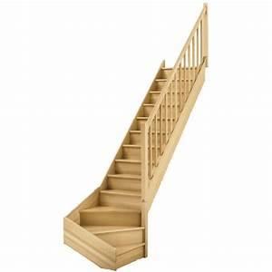 Escalier soft quart tournant bas droit h274 rampe classic structure marche bois Leroy Merlin