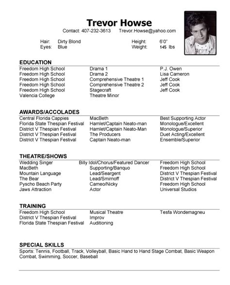18 child acting resume template no experience